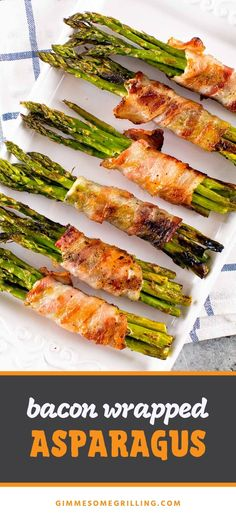 Bacon Wrapped Asparagus is an easy grilled side dish that's healthy. Just take a bunch of asparagus spears and wrap them in bacon then grill. Super easy to make for a weeknight dinner recipe or fancy enough to serve to guests! #asparagus #bacon