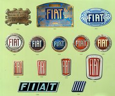 The historical logos of Fiat from 1899 till 1991.