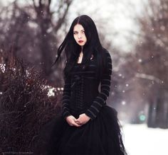 goth girl, snow, black dress