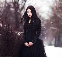 goth girl, snow, black dress