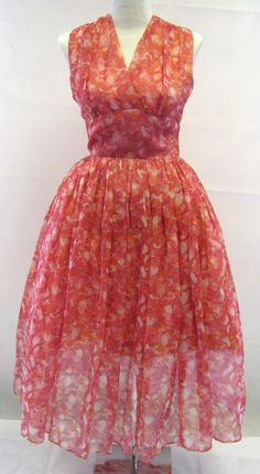 1950s Pink Floral Chiffon Prom Dress...in other words my Easter dress. :)