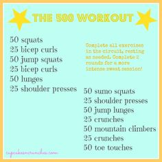 Good 45/60 workout when go through twice. Kills the legs!! Weight the squats/lunges with 12kg KB/DB