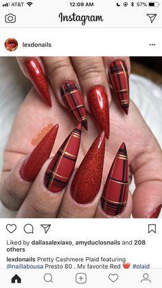 Xmas Nails, Holiday Nails, Plaid Nails, Rhinestone Nails, Christmas Nail Art, Nail Pro, Winter Nails, Beauty Hacks, Beauty Tips