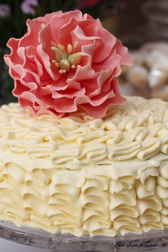 Chocolate Guinness Cake with ruffle cream cheese frosting and Sugar Coral Peony