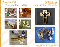 Cruz de pasta, convertida en metal con Hoja de Oro. #pintura decorativa #crafts…