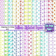 Fondos Digitales Alfabeto Letras de Globo, papeles digitales letras del alfabeto en forma de globo de colores de CuteDesignPapers en Etsy