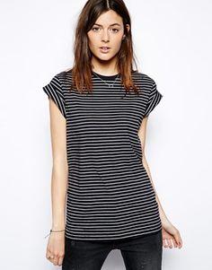 ASOS Boyfriend T-Shirt with Roll Sleeve in Stripe