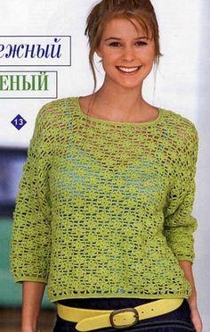 Openwork crocheted sweater