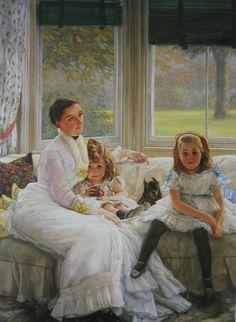 La famille Chapple Gill de Lower Lea Woolton, James Tissot, 1877  À gauche, dans les bras de sa mère, le garçon, à droite la fille  National Museums and Galleries on Merseyside