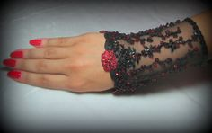 OOAK Hand Beaded Lace Cuff in Black & Ruby Red by YovankaBlack