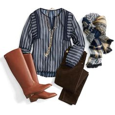 Cute top - like the vertical stripes, love the scarf, too!