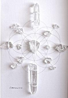 PURIFY ENERGIZE FLOW --- framed sacred crystal grid --- clear quartz. $38,00, via Etsy.