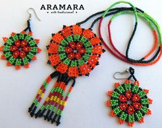 Mexican Huichol Beaded Peyote Flower Necklace and Earrings set Mexican necklace - Mexican Jewelry - Huichol Necklace Seed Bead Jewelry, Seed Bead Earrings, Seed Beads, Beaded Jewelry, Crochet Earrings, Handmade Jewelry, Jewelry Necklaces, Jewellery, Collar Redondo