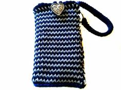 Navy & Light Blue Phone Pouch with Strap Heart by KnitBlossom, $12.00