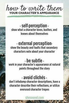 How to write your character's appearance  Source - po.st/oZmV0U