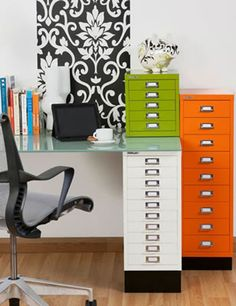 Multicolored, painted file cabinets, bright green and orange. Pop of color, Home office repurpose.