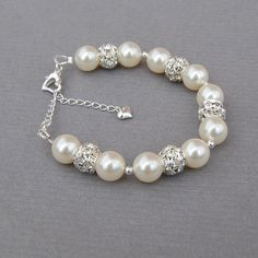 Ivory Pearl Wedding Bracelet, Brides Jewelry, Bridal Pearl Rhinestone Jewelry, Brides Bracelet