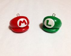 Mario and Luigi Hats, Polymer Clay Charm, Nintendo, BFF, Best Friends Jewelry Set, Miniature, Cellphone Charm, Keychain, Chibi, Novelty by misaberry on Etsy https://www.etsy.com/listing/220923092/mario-and-luigi-hats-polymer-clay-charm