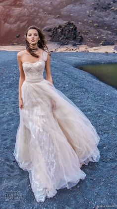 galia lahav gala 2018 bridal one shoulder semi sweetheart neckline ruched bodice romantic blush a line wedding dress corset back chapel train (7) mv -- Gala by Galia Lahav Collection No. 5 Wedding Dresses