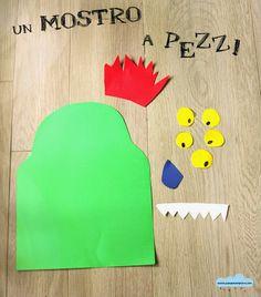 Quandofuoripiove: un mostro a pezzi: il gioco fai-da-te con forbici, nastro adesivo e... una benda!  Pin the face on the monster! #kids #indoor