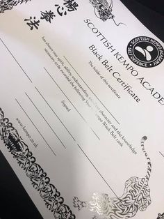 white card with black gloss print martialarts certificates certificate martial arts