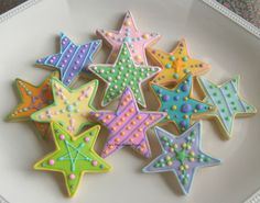 COLORFUL STAR DECORATED COOKIES - Star Cookie Favors - Cookie Gift - 1 dozen. $24.99, via Etsy.