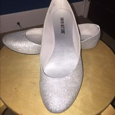 Silver Sparkly Flats Only worn 3 times. Wonderful condition! Comfy and totally cute flats that can brighten up any outfit! Size 10 Lower east side Shoes Flats & Loafers