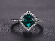 Emerald Engagement Ring Cushion Cut Ring 14K White Gold Emerald Ring May…