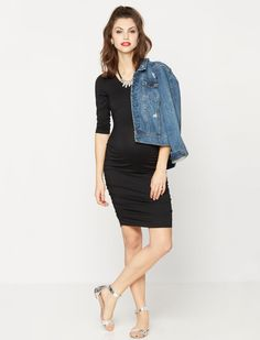 Maternity basics: a little black dress. | Short sleeve maternity dress by A Pea in the Pod