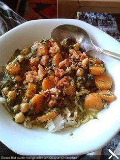 Veganes Kichererbsen-Curry mit Spinat und Möhre