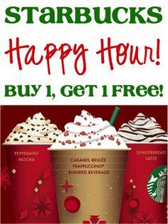 Starbucks Holiday Drinks Happy Hour: Buy One, Get One FREE!! #coffee #thefrugalgirls