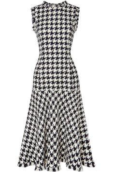 Oscar de la Renta | Fringed houndstooth wool-blend tweed dress | NET-A-PORTER.COM