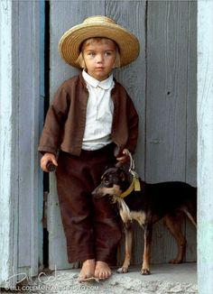 Pennsylvania Dutch Amish boy and his friend
