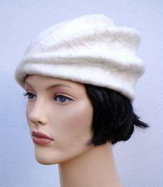 Beautiful asymetrical women beret white felt beret ❤ by feltgOOOd, $72.50