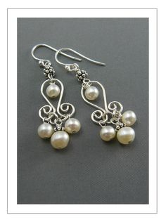 'TULIP' CHANDELIER EARRINGSwith FRESHWATER PEARLS