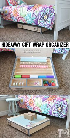 Save your closet space and store all of you wrapping supplies in a handy rolling gift wrap organizer. It easily slides under the bed and has lots of room for storage plus a large solid top for wrapping. Save your closet spa Gift Wrap Storage, Wrapping Paper Storage, Gift Wrapping, Gift Wrap Organizer, Diy Organizer, Wrapping Ideas, Tool Storage, Diy Storage, Organizers