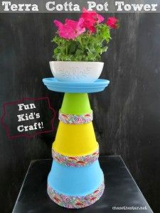Terra Cotta Pot Tower-A Fun Kid's Project with Plaid Crafts!