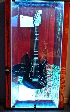 """ZAAX wall guitar display """"Red Satisfaction"""" and Gilmour Fender"""