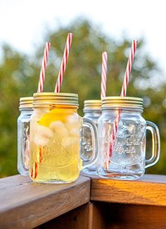 mason jar mugs with handle tin lid and plastic straws old fashion drinking glasses pack of by lilyu0027s home - Mason Jar Drinking Glasses