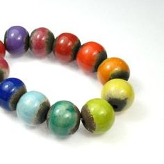 Keith O'Connor Ceramic Mini Round Beads Rainbow Mixed Strand 12mm 12 beads per strand