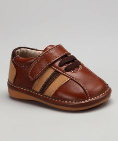 Take a look at this Brown Stripe Patrick Squeaker Shoe by Squeaky Feet by Little Green Trike on #zulily today!