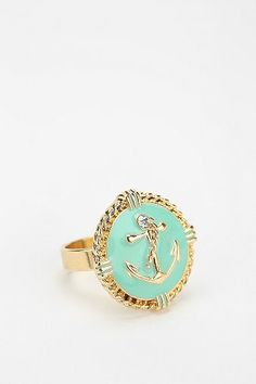 Tiffany Blue Rhinestone Anchor Ring - Urban Outfitters