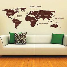 Mapa de las pegatinas de pared del Mundo