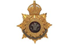 Badge. North Staffordshire Regiment Officer's helmet plate circa 1901-14. A very fine gilt exampl