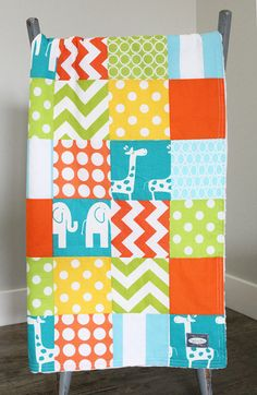 Your place to buy and sell all things handmade Patchwork Blanket, Patchwork Baby, Bright Nursery, Giraffe, Elephant, Crib Blanket, Nursery Bedding, Baby Things, Cribs