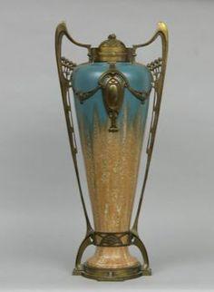 Art nouveau pottery with bronze & brass