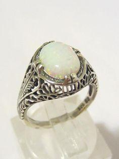 Vintage Art Deco Sterling silver White Opal Filigree Ring Size 5