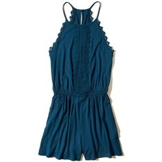 Hollister Lace-Trim Knit Romper ($40) ❤ liked on Polyvore featuring jumpsuits, rompers, blue, blue rompers, blue romper, knit romper and playsuit romper