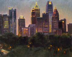 "Ken Dewaard, ""Lights of Atlanta"" 16"" x 20"" Oil"
