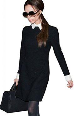 $14.00 Lovaru Women's Victoria Elegant Long-sleeved Black Slim Bodycon Peter Pan Collar Dress Lovaru